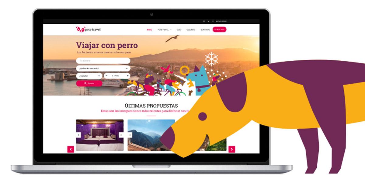 Viajando con mi mascota - Vista de la web con buscador Pets Travel